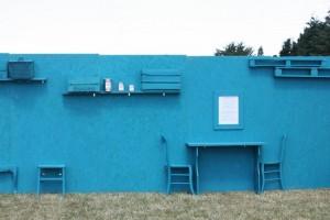Un texte sur le DIY sur un mur en récup' réalisé par On n'est pas que des cageots pour le festival Bobital 2014.